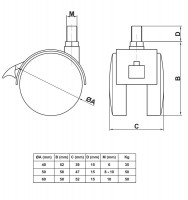 Stuhlrollen Tischrollen Möbelrollen mit Gewindestift und Bremse Kunststoffrollen