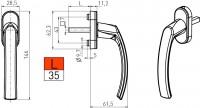 Fenstergriff Rasterolive Aluminium verschiedene Farben Modell 121