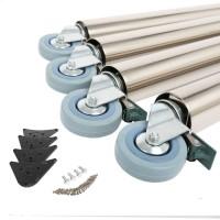 4er Set 870mm Höhe Tischbeine auf Rollen mit Bremse Tischfüsse ø 60mm aus Stahl