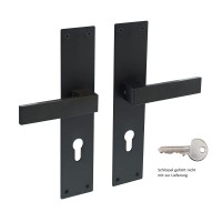 Schwarz matte Langschildgarnitur extra breites Schild Türdrücker Edelstahl 55x250mm