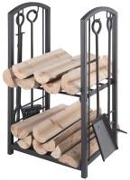 Holzkorb, Holzregal mit Kaminbesteck Holzset Ofenset in Schwarz 5-teilig B / H/ T - 40/ 73/ 30cm