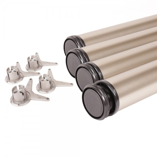 4er Set Tischstempel 1100mm Nickel matt Tischbeine ø 60mm höhenverstellbar Möbelbeine