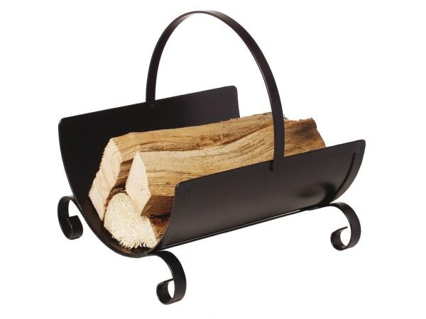 Holzkorb Kamingarnitur Kaminzubehör schwarz lackiert mit umlegbarem Griff