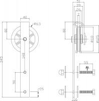 2-teiliges Laufrollen-Set Wheel Schwarz Schiebetürrollen für Schiebetüren 340 mm