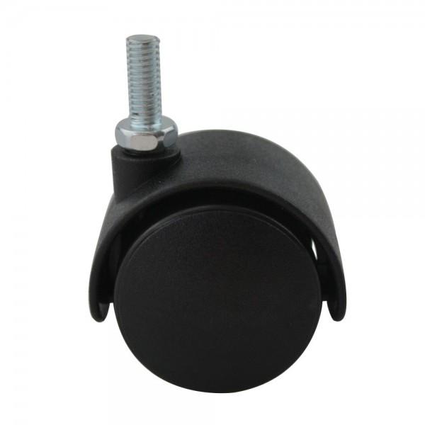 Hartbodenrolle Möbeltransportrolle Kunststoff schwarz Möbelrolle mit Gewindestift