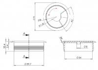 5er Set Kabeldose grau ø 60mm Kabeldurchführung rund Kabeldurchlass Kabelöffnung