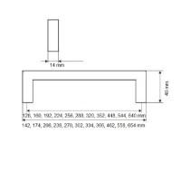 Schubladengriff Modell New York Edelstahl matt gebürstet Möbelgriff 14x14mm Griff