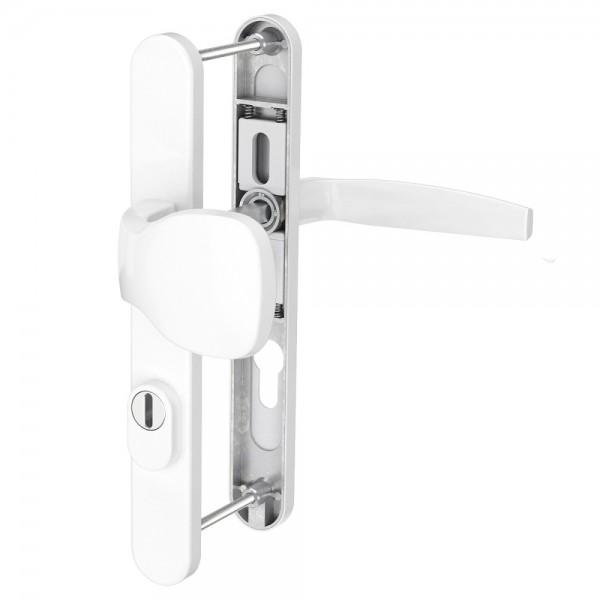 Türbeschlag Schmalrahmengarnitur 72mm Wechselgarnitur Profilzylinder Weiß RAL9016