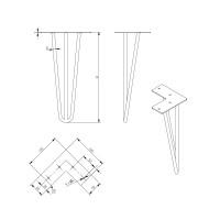 Schwarz matte Haarnadelbeine Hairpin Leg Tischkufen Industrial Look Tischbeine Tischstützen