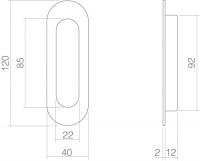 Schiebetürmuschel oval aus Edelstahl Ausführung Mattschwarz 120mm x 40mm