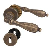 Türdrücker Messing Antik Braun Rosettengarnitur Modell Svezia Türbeschlag