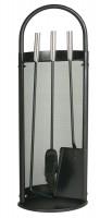 Kaminbesteck, Ofenbesteck, Kaminzubehör, 3- teilig- schwarz beschichtet. Griffe und Rahmen vernickel