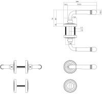Rosettengarnitur Antik Grau Türdrücker Fenstergriff Rasterolive Türbeschlag Zamak