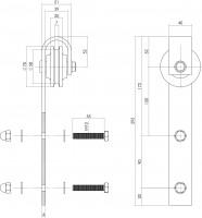 2 teiliges Laufrollen-Set für Schiebetürsystem 0035.450101 Edelstahl gebürstet