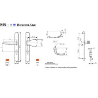 Türdrücker 92mm PZ Lochung Schmalrahmengarnitur Silber Wechselgarnitur Türbeschlag