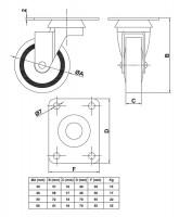 Möbelrollen Schwerlastrollen 4er Set Hartgummirollen mit Anschraubplatte Metall