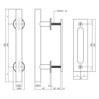 Industrie Look für Schiebetüren mit Stoßgriff und Schiebemuschel aus Stahl Schwarz