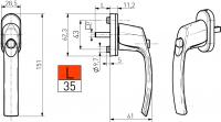 Fenstergriff Rasterolive Aluminium 6 Farben mit Druckknopf Kindersicherung