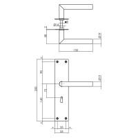Renovierungsschild Türgriff Türklinke Edelstahl Schwarz matt 250mm x 55mm x 2mm