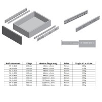 Schubladenschiene 45mm Höhe Schubladenauszug Vollauszug Metall Führungsschiene verzinkt