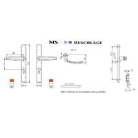 Langschildgarnitur Braun 92mm Wechselgarnitur Aluminium Schmalrahmengarnitur PZ