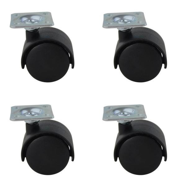 Möbeltransportrollen 4er Set Kunststoffrollen mit Anschraubplatte Möbelrollen