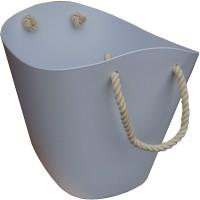 Tragekorb aus Kunststoff Holzkorb in Weiß mit 2 Seilgriffen