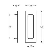 Schiebetürmuschel Rechteckig aus Edelstahl Ausführung gebürstet 120mm x 40mm