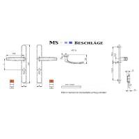 Schmalrahmengarnitur 8-72mm Silber Schildgarnitur Türdrücker Wechselgarnitur PZ