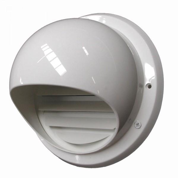 Kugelhaube mit Insektenschutz Ablufthaube Wetterschutzhaube Außenwandhaube Weiß