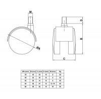 4er Set Kunststoffrollen Möbelrollen Schwarz inklusive Gewindestift Hartbodenrollen