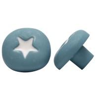 Möbelknopf Schrankknopf Schubladenknopf Kinderzimmerknopf Modell Blauer Pilz mit weißem Stern
