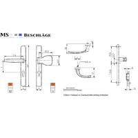 Langschildgarnitur Schwarz RAL9005 Schmalrahmengarnitur 92mm PZ Lochung Wechselgarnitur