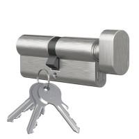 Profilzylinder mit Knopf Ausführung vernickelt Knopfzylinder Messing Türschloss